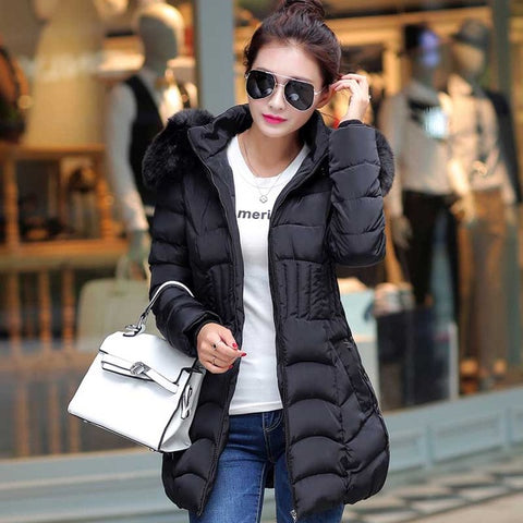 Fur Hooded Winter Down Jacket Cotton Slim Overcoat Elegant Casual Long Sleeve Women Coat Park Plus Size