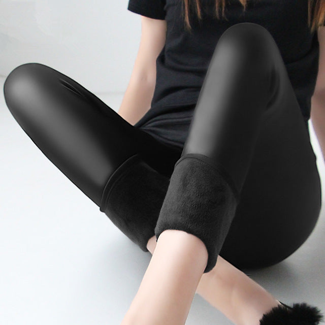 Winter Warm Fat MM Plus Size Plus Velvet Solid Color Imitation Leather High Waist Pants Leggings