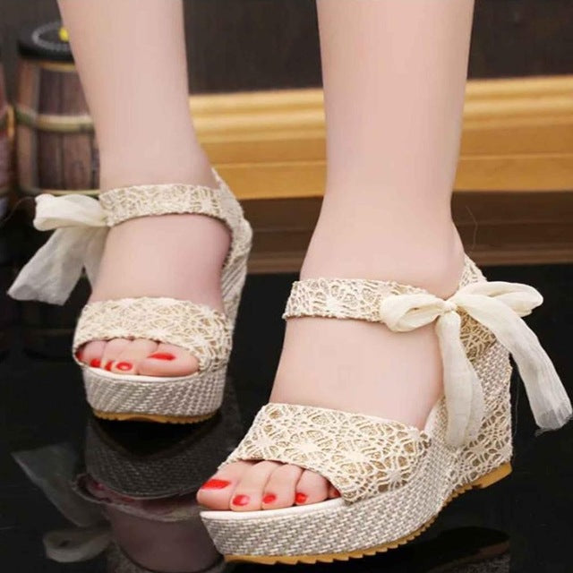 Women Summer Sweet Flowers Buckle Open Toe Wedge Floral High Heel Shoes Platform Sandals - Shoes