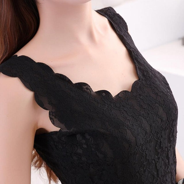 Black Lace Women's Tank Crochet Embroidery Fitness Summer Casual Camisole Sleeveless Shirt