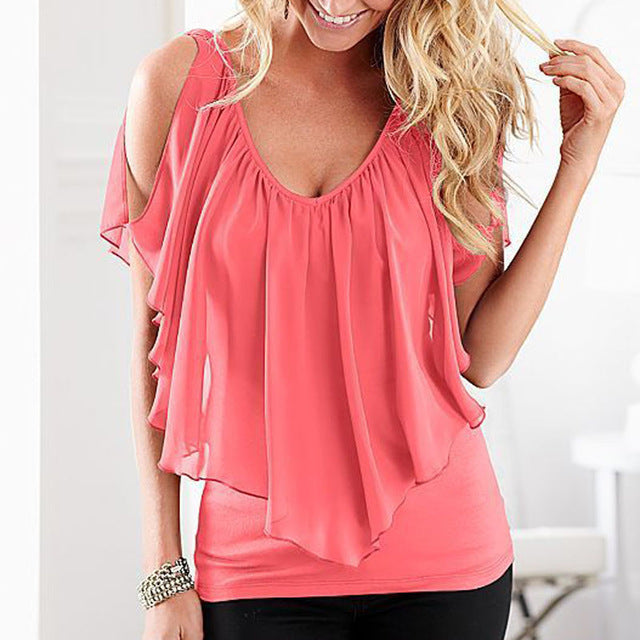 Women Sleeveless Irregular Chiffon Blouses Off The Shoulder Shirts Women Tops