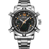 Silver Stainless Steel Watch Men Dual Time Zone Analog Digital Date Alarm Display Water Resistant