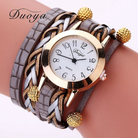 Women Watch Duoya Top Brand Gold Beads Braided Bracelet Quartz Wristwatch Casual Vintage Watch Clock - Jewelry