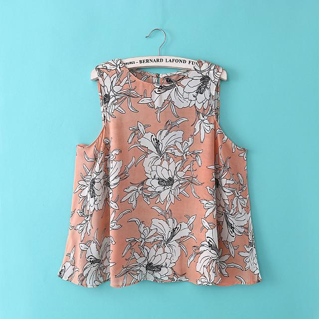 Women floral print Vest crop blouses pink blue O neck sleeveless loose shirts casual tops