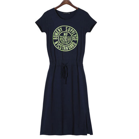 Women Hooded Letter Print Bodycon Casual Dresses Loose Dress Vestidos