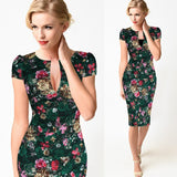Sexy Elegant Floral Lace Vintage Tunic Slim Casual Party Fitted Sheath Pencil Bodycon Dress - Clothes