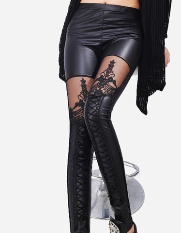 Black Punk Gothic Women Leggings Sexy PU Leather Stitching Embroidery Hollow Lace Legging