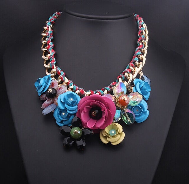 Crystal Flower Necklaces Pendants Chunky Big Choker Necklace Vintage Collar Statement Jewelry - Jewelry