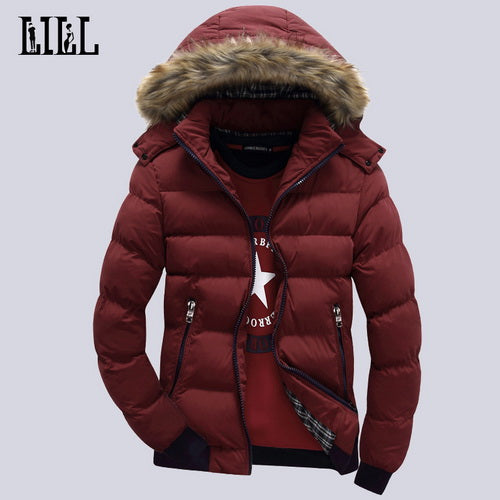 Winter Men's Down Jacket Fur Hood Hat Slim Men Outwear Coat Casual Thick Down Jackets