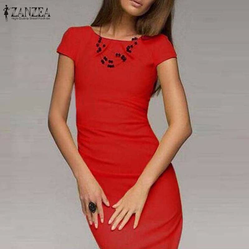 Summer Dress Bodycon Office Party Dresses Short Sleeve O-Neck Package Hip Slim Vestidos