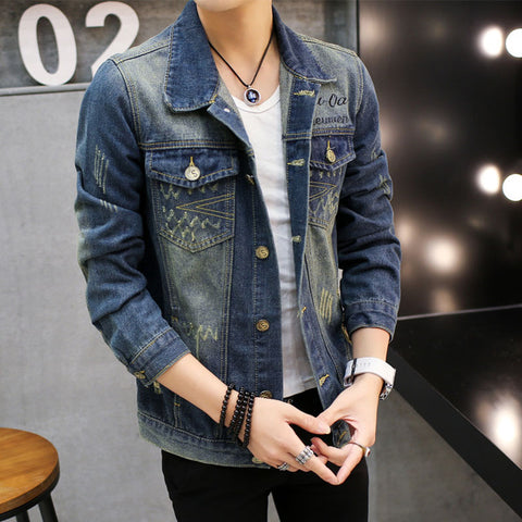 Men Denim Jacket Casual Slim Jean Coat Outdoors Long Sleeve Masculine Outwear Jacket