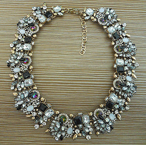 PPG&PGG Jewelry Luxury Rhinestone Collar Purple Crystal Bib Choker Statement Necklaces Pendants - Jewelry