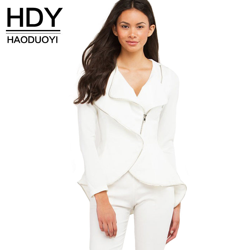 HDY Haoduoyi Solid White Casual Coat Streetwear Slim Long Sleeve Basic Zipper Female Short Jackets