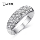 UMODE Fashion Classic Hot Sale Rhodium Plated Rhinestones Studded Alloy Finger Rings - Jewelry