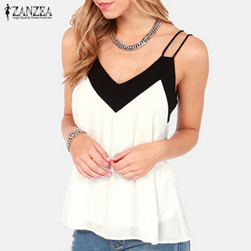 ZANZEA Sexy V Neck Casual Sleeveless Halter Blouse Shirts Loose Chiffon Tank Tops Vest