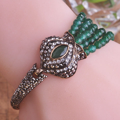Blucome Luxury Resin Beads Bracelets Green Crown Vintage Bracelet Bangle Turkish Jewelry - Jewelry