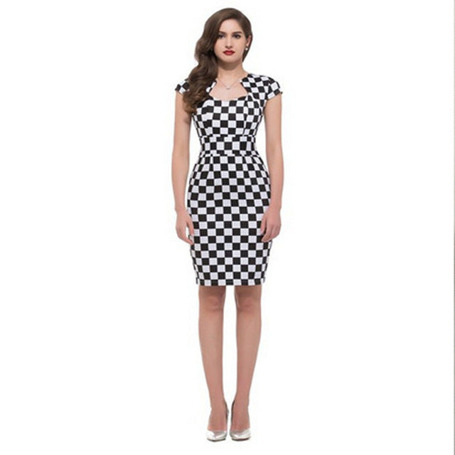 Polka Dots Plaid Cute Dress Sleeveless White Blue Red Short Pin Up Girl Slim Bodycon Dresses