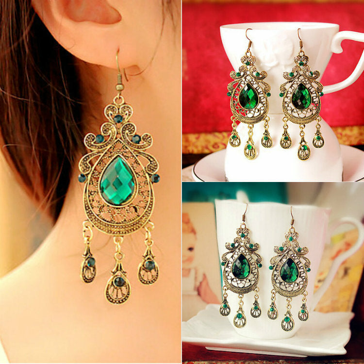 European American Retro Style Palace Green Water Drop Exaggerated Long Section Large Earrings - Jewelry
