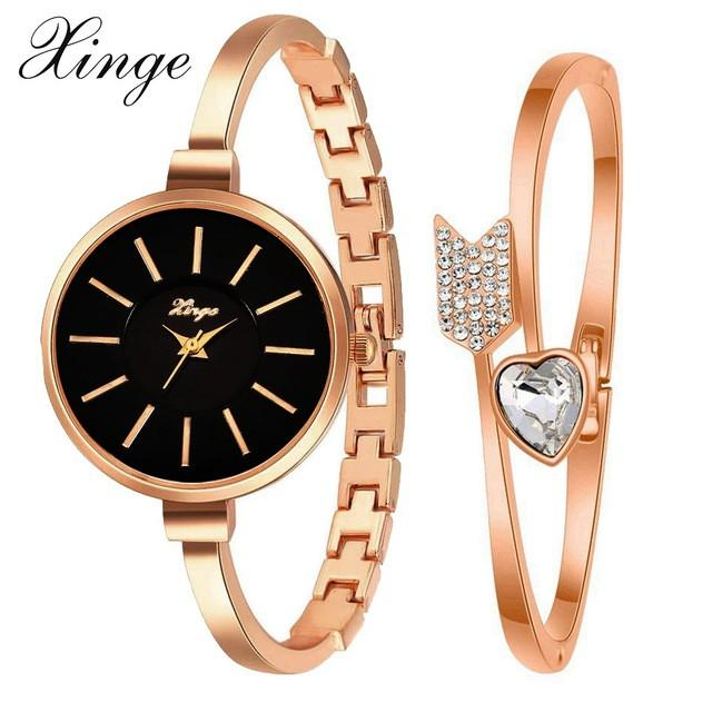 Xinge Luxury Famous Women Bracelet Watch Jewelry Set Wristwatch Women Crystal Gemstone Stone Quartz Watches - Jewelry
