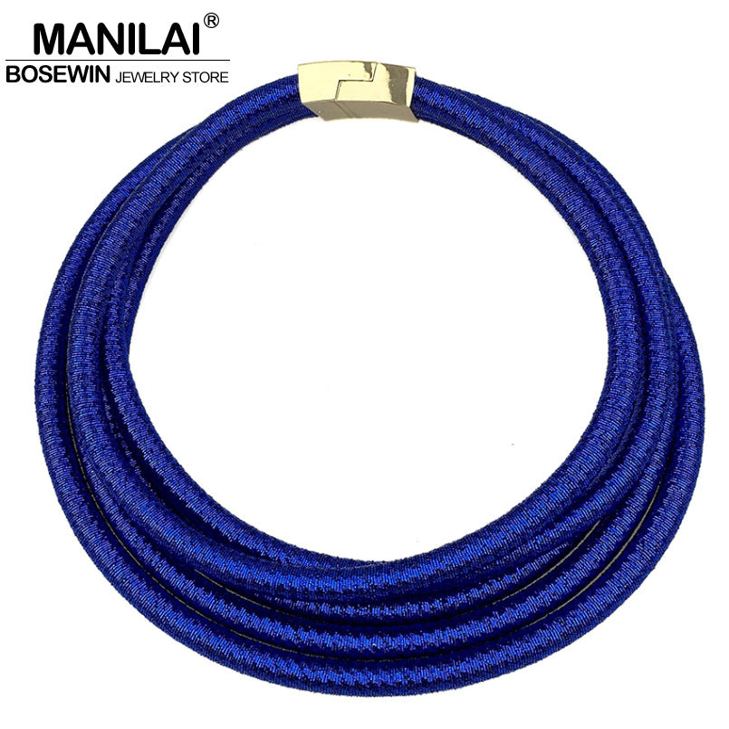 MANILAI Multilayers Chokers Necklaces Kim Kardashian Collar Magnetism Button Statement Necklace - Jewelry