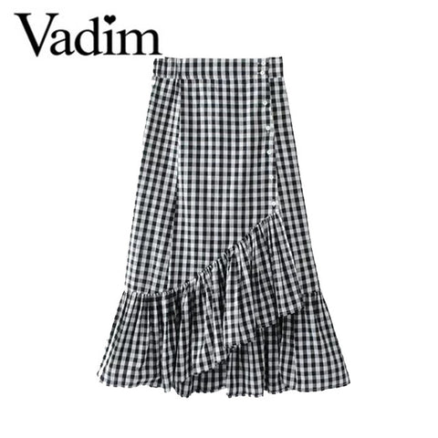 Women Sweet Ruffles Plaid Split Skirts Lining Elastic Waist Buttons Casual Mid-calf Skirt