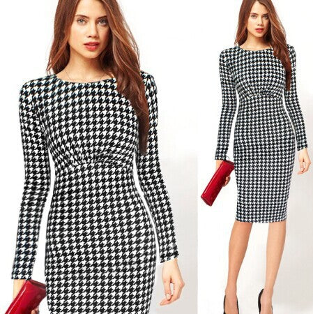 Autumn Polka Dot Print Dresses Long Sleeve Casual Dress Vestidos