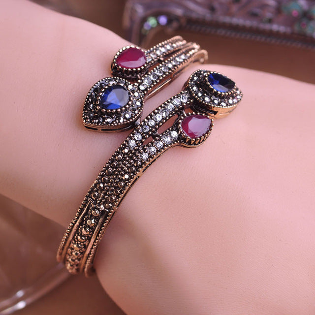 Blucome Vintage Green Flower Red Water Drop Resin Bangle Bracelet Hand Crystal Turkish Jewelry - Jewelry