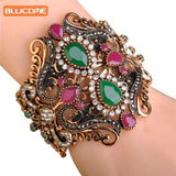 Blucome Vintage Big Elastic Resin Bangles Cuff Bracelets Hand Turkish Wide Bangle Sculpture Wrist - Jewelry
