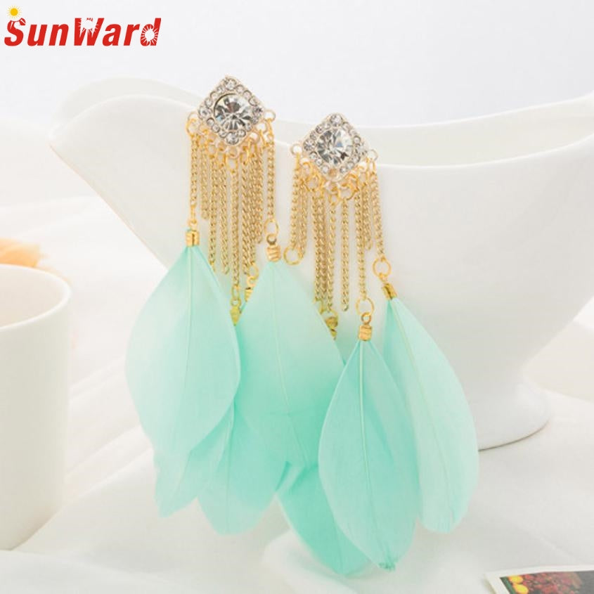 Bohemian Handmade Vintage Feather Rhinestone Long Drop Earrings Dangle Jewelry Gift - Jewelry