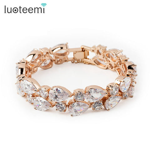 LUOTEEMI Gold-Color Mona Lisa Clear Zircon Bracelet Bangles Women Clear CZ Stones Jewelry - Jewelry