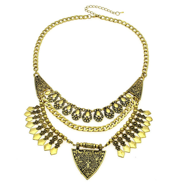 MANILAI Bohemia Necklaces Vintage Carving Alloy Choker Statement Necklaces Pendants Collares - Jewelry