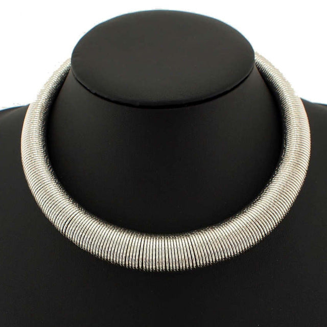 Metal Neck Fit Torques Collar Chokers Party Wear Statement Necklace Short Design Punk Jewelry - Jewelry