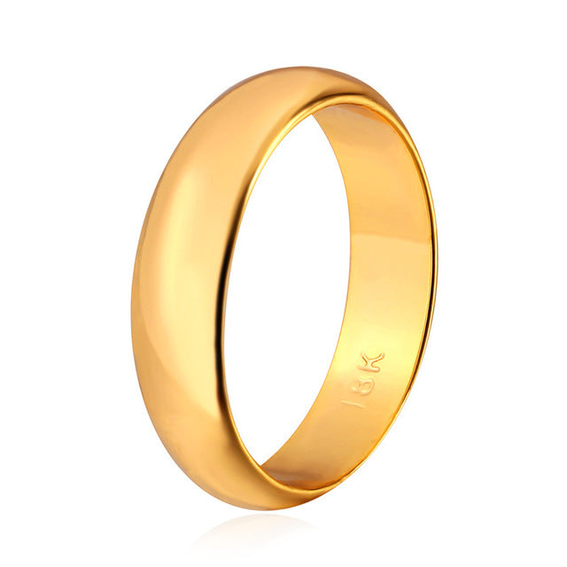 U7 Ring Women Gift Gold Plated 5MM Wide Classic Wedding Bands Rings for Men - Jewelry
