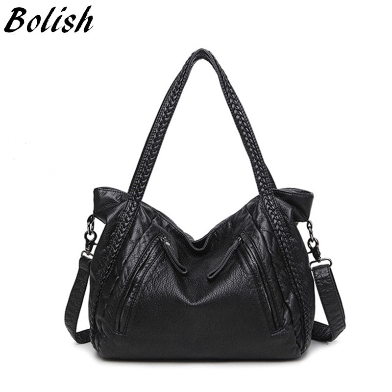 Bolish Soft PU Leather Top-handle Bag Women Messenger Bag Larger Shoulder Waterproof Bag