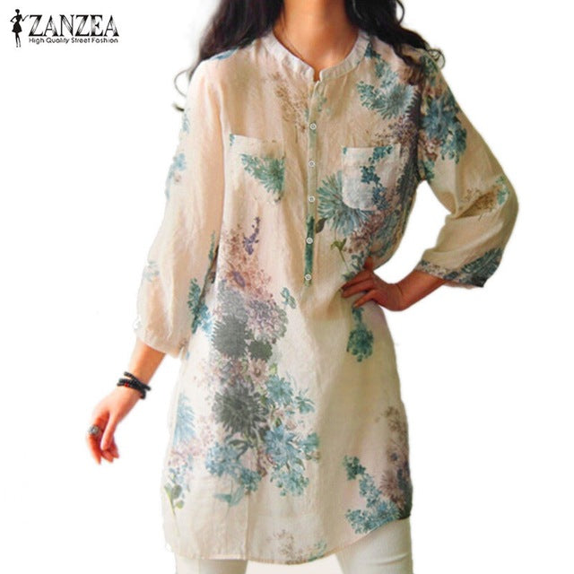 Vintage Floral Printed Blouses Elegant 3/4 Sleeve Linen Casual Long Tops Shirts