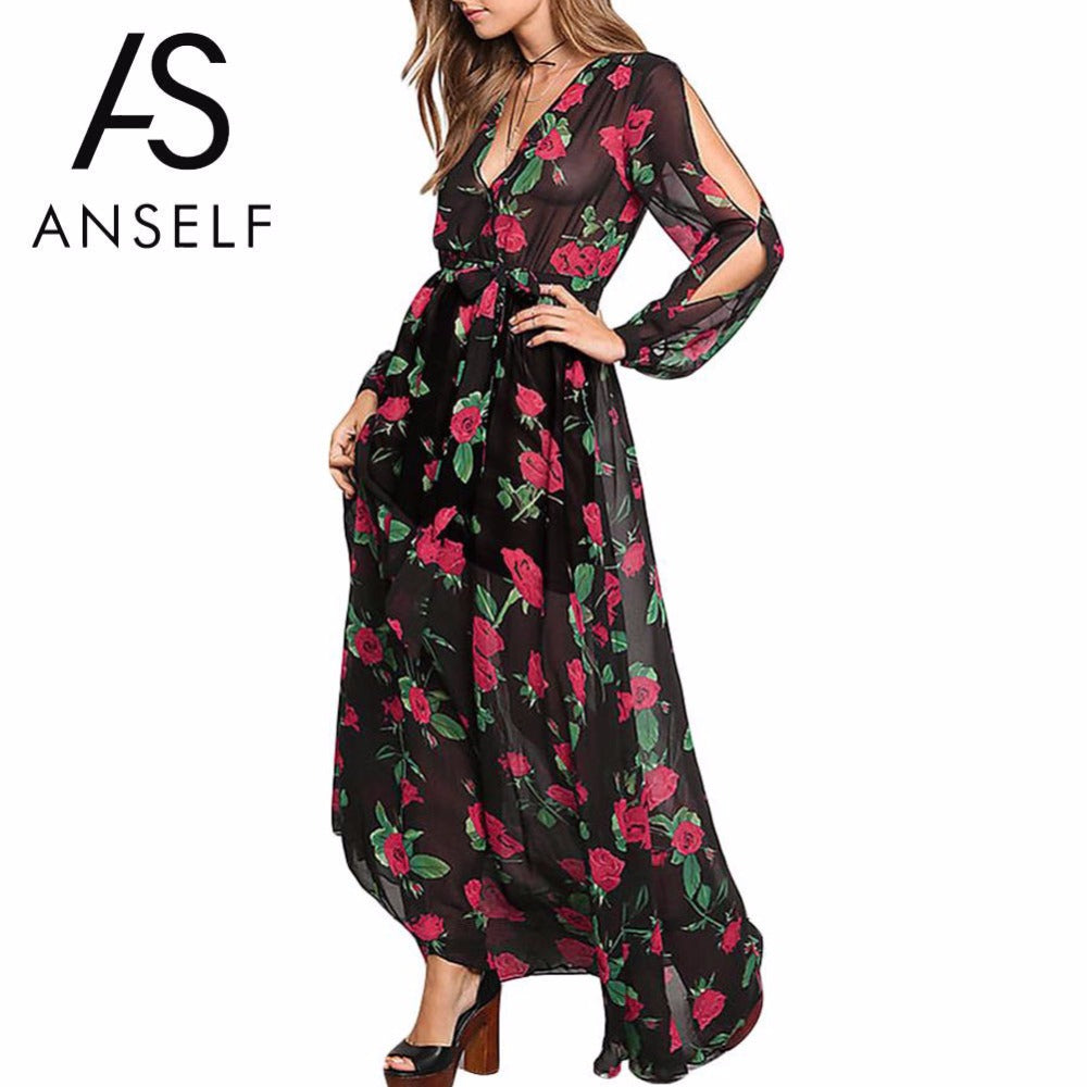 Anself Floral Print Summer Maxi Dress Long Sleeve Beach Dress Sheer Long Party Dresses Vestidos