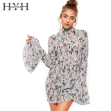Floral Print Dress Long Flare Sleeve High Collar Casual Vestidos Back Tie Streetwear Sweet Mini Dress