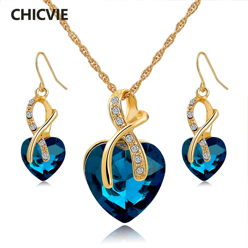 Gold Plated Jewelry Sets Crystal Heart Necklace Earrings Jewellery Set Bridal Wedding Accessories - Jewelry