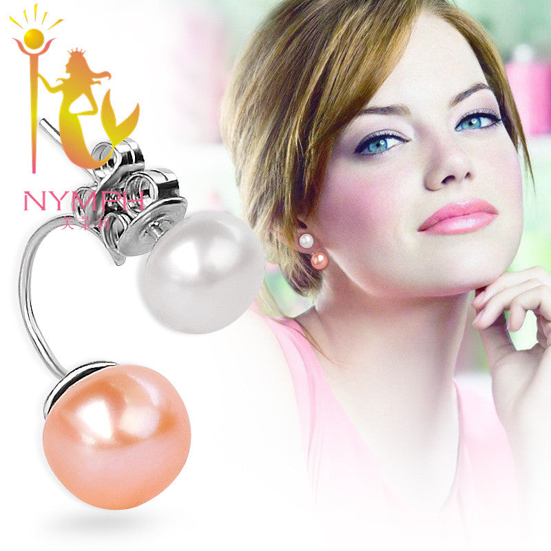 NYMPH freshwater pearl stud earrings jewelry double 925 sterling silver fine jewelry earrings stud women - Jewelry