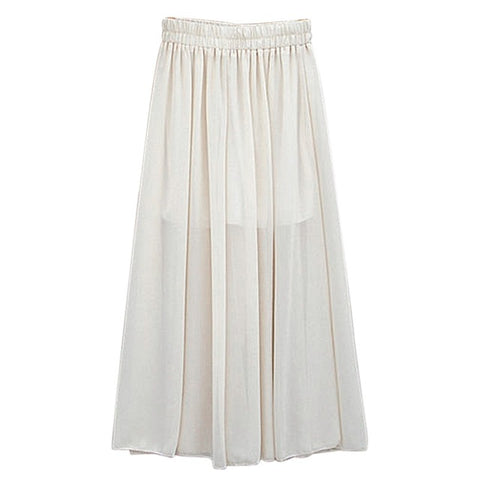 Fashionable Design High Waist Women Chiffon Long Pants Solid Color Loose Lady Wide Leg Pants