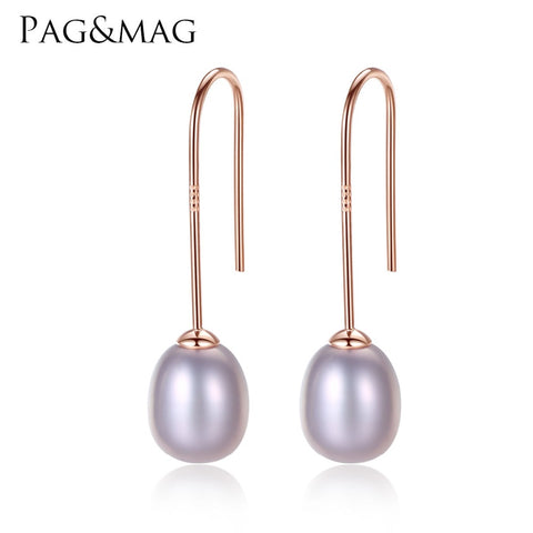 FENASY Natural Pearl Earrings Freshwater Pearl Earrings 925 Sterling Silver Trendy Stud Earrings - Jewelry