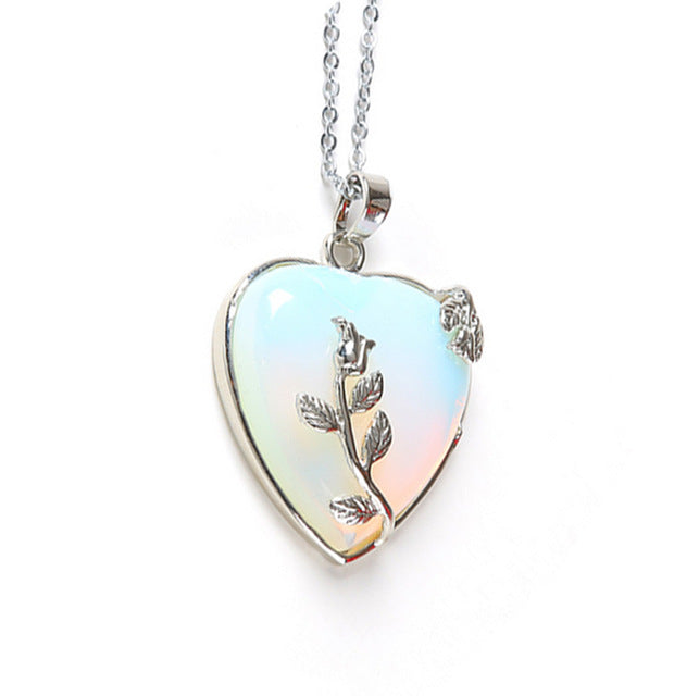 European Heart Stone Chain Necklace Opal Love Leaf Flower Pendant Necklaces - Jewelry