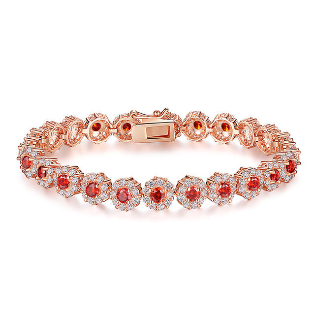 BAMOER Rose Gold Color Chain Link Bracelet Women Shining AAA Cubic Zircon Crystal Jewelry - Jewelry