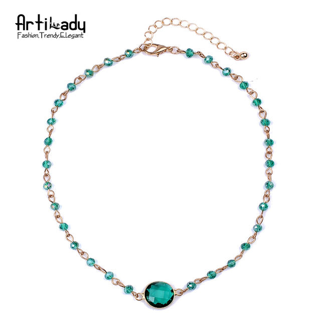 Artilady multicolor beads choker necklace gold color choker necklace jewelry party gift - Jewelry