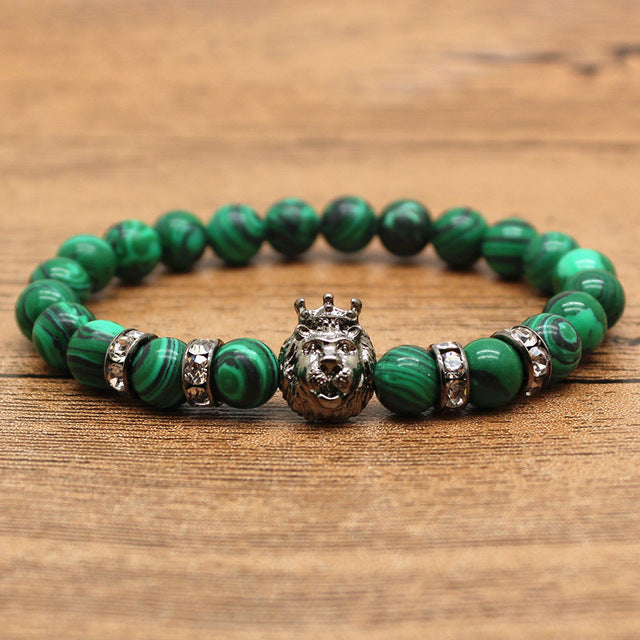 Hansion Knight Spartan Warrior Gladiator Helmet Rhinestone Bracelet Men Malachite Stone Bead Jewelry - Jewelry