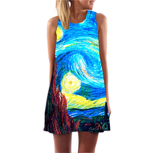 Casual Chiffon O-Neck Colours Print Sleeveless Party Club Tank Mini Dress Vestidos