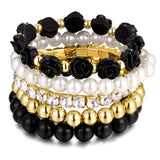 JEWELRY Factory Imitation Pearl Black Beads Rose Pendant Stretch Bracelets Bangles Jewelry - Jewelry