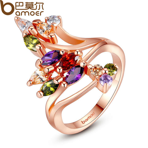 BAMOER Gold Plated Finger Ring Party AAA Colorful Cubic Zircon Famous Brand Jewelry - Jewelry