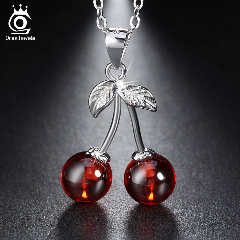 ORSA JEWELS 925 Sterling Silver Red Stone Cherry Pendant Necklaces Genuine Silver Jewelry Necklace - Jewelry