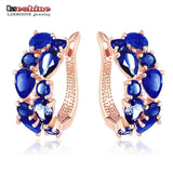 Multicolour Cubic Zirconia Earrings Real Rose Gold Plated Girl - Jewelry